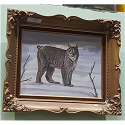 GILT FRAMED BOBCAT OIL ON CANVAS PAINTING
