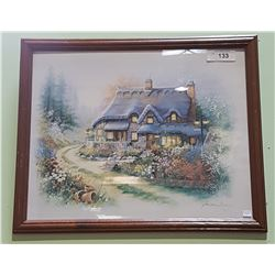 FRAMED PRINT OF A COTTAGE