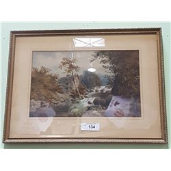 VINTAGE FRAMED PRINT OF HOUSE ON A RIVER