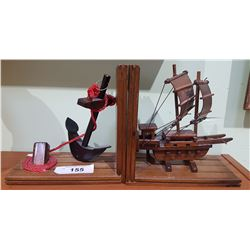 VINTAGE SHIP & ANCHOR BOOKENDS