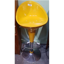CHROME/YELLOW PLASTIC STOOL