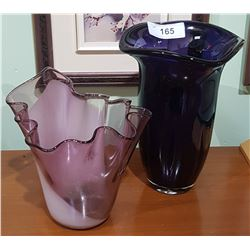 TWO AMETHYST ART GLASS VASES