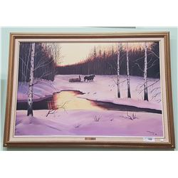 GILT FRAMED OIL ON CANVAS TITLED WINTER SOLITUDE