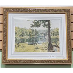 GILT FRAMED PRINT OF FOREST LAKE