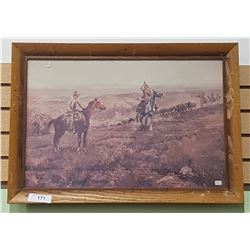 FRAMED COWBOY PRINT SIGNED