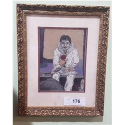 FRAMED NEEDLEPOINT CLOWN PICTURE