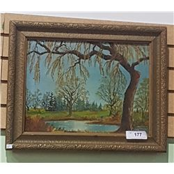 FRAMED OIL ON BOARD SIGNED