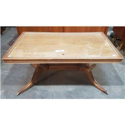 VINTAGE DUNCAN PHYFFE GLASS TOP COFFEE TABLE