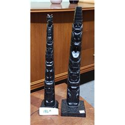 TWO CARVED TOTEM POLES