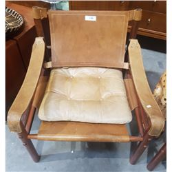 ARNE NORELL ROSEWOOD & TAN LEATHER SAFARI SIROCCO CHAIR