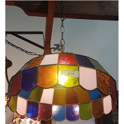 VINTAGE STAINED GLASS HANGING LIGHT