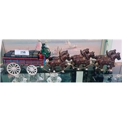 CAST IRON HORSE TEAM & WAGON