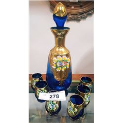 7 PC MURANO COBALT CRYSTAL DECANTER SET W/HEAVY GOLD OVERLAY AND APPLIED ENAMEL FLOWERS