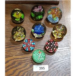 LOT OF 9 ART GLASS PAPERWEIGHTS