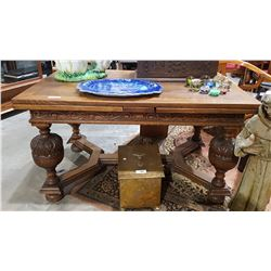 ANTIQUE CARVED OAK DRAW LEAF TABLE