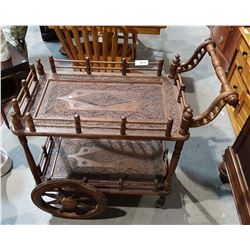 HIGHLY CARVED ASIAN TEA CART