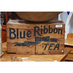 BLUE RIBBON WOODEN TEA CRATE