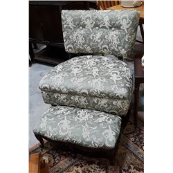 VINTAGE UPHOLSTERED CHAIR & FOOTSTOOL