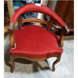 ANTIQUE UPHOLSTERED SIDE CHAIR