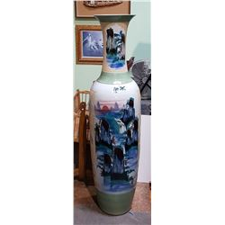 JAPANESE 6FT VASE W/WATERFALL MOTIF