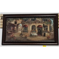 LARGE FRAMED PRINT OF A EUROPEAN STREET