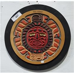 NATIVE CARVED WOOD PLAQUE MOON SIGNED