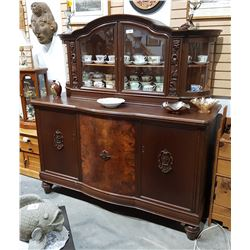 ANTIQUE MAHOGANY BURL FRONT BUFFET W/CHINA CABINET
