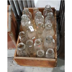 WOOD BOX W/APPROX 16 GLASS MILK BOTTLES