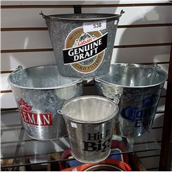 FOUR GALVANIZED BEER BUCKETS