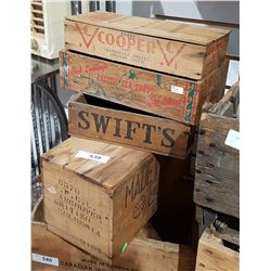 FOUR SMALL VINTAGE WOODEN BOXES