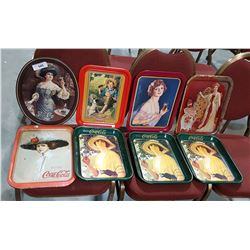 LOT OF 7 COCA COLA & PEPSI COLLECTIBLE TRAYS