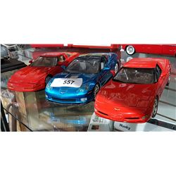 THREE CORVETTE DIE CAST CARS