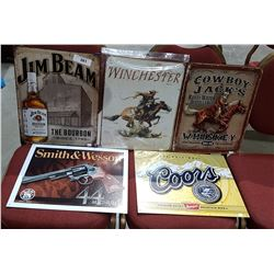 FIVE REPRODUCTION TIN SIGNS