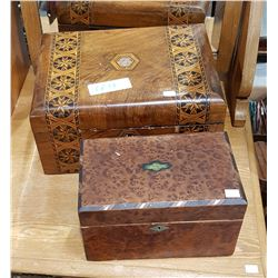 TWO VINTAGE WOOD JEWELRY BOXES