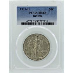 1917-D Walking Liberty Half Dollar Coin PCGS MS63 Reverse