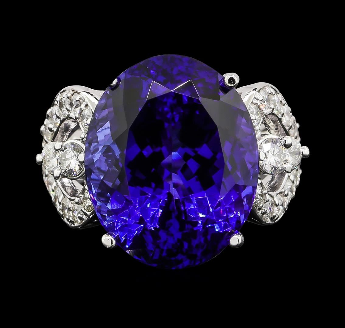 platinum dark ring diamond gia tanzanite certified i and