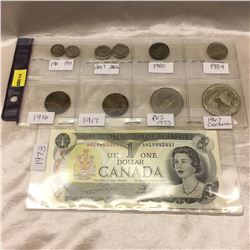 Canada Coin & Bill Grouping: Small Five Cent (2); Dimes (2); Large Five Cent (2); Large Cent (2); 19