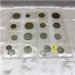 Foreign Coins - Variety - Sheet of 18 (Incl: Brazil, Greece, Germany, Ireland)