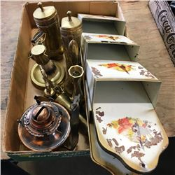 Tray Lot: Mail Sorter & Brass Ornaments & Copper Craft Lamp