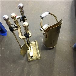 Brass Fireplace Set & Scuttle