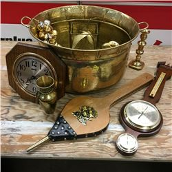 Brass Kettle Pot w/Barometer, Bellows, Ornaments, Bells, etc