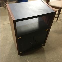 Small Black/Glass Front TV Stand & Small White Cupboard