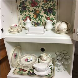 "Grouping: China ""British Empire"" & Additional Side Pieces & Wine Glasses, etc"