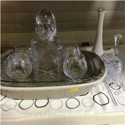 Trays: Crystal Decanter Set & Fenton Vase & Fancy Dinner Bell