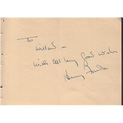 Henry Fonda Signed Autograph Book Page