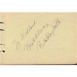 Rita Hayworth Signed Autograph Book Page