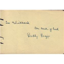 Bobby Riggs Signed Autograph Book Page