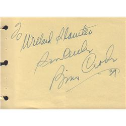 Bing Crosby Signed Autograph Book Page