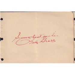 Betty Grable Signed Autograph Book Page