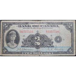 1935 $2 Dollar , BC-3, Bank of Canada banknote